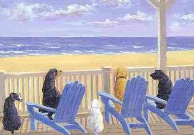 Dogs on Deck Chairs Notecards (Cards)