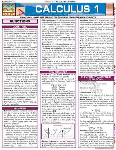 Calculus: Functions, Limits and Derivatives for First-year Calculus Students (Cards)