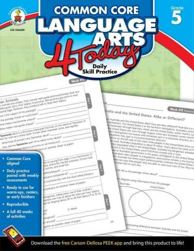 Common Core Language Arts 4 Today, Grade 5 (Paperback) - Thumbnail 0