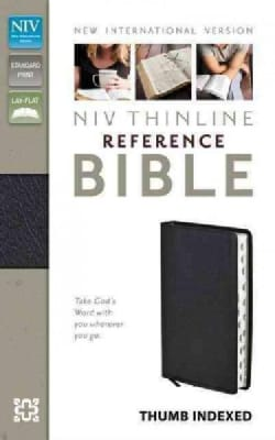 Holy Bible: New International Version, Black Bonded Leather, Thinline Reference (Paperback)