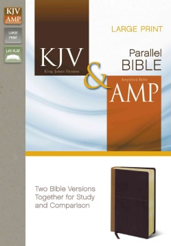 Side-by-Side Bible: King James Version / Amplified, Camel / Rich Red, Italian Duo-Tone (Paperback)
