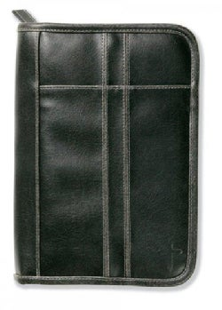 Distressed Leather-look Black With Stitching Accent Large Book & Bible Cover (General merchandise)