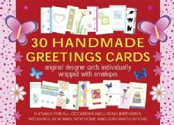 30 Handmade Greetings Cards (Red/pink Box): original designer cards individually wrapped with envelopes (Cards)