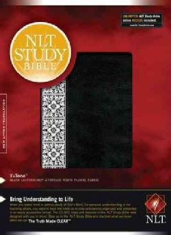 NLT Study Bible: New Living Translation, Black/Vintage White Floral, Tutone, Leatherlike