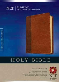 Holy Bible: New Living Translation, Brown/ Tan, TuTone, Leatherlike, Slimline Center Column Reference Edition (Paperback)