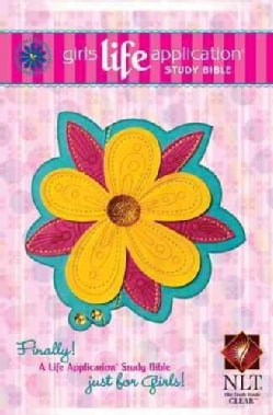 Girls Life Application Study Bible: New Living Translation, Teal   Glittery Gold Blossom, LeatherLik