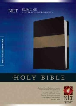 Holy Bible: New Living Translation, Black & Taupe, LeatherLike, Slimline Center Column Reference Edition (Paperback)