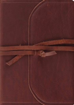 Holy Bible: English Standard Bible, Brown, Flap With Strap, Natural Leather, Journaling Bible, Interleaved Edition (Paperback)