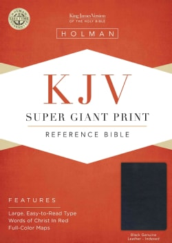 Holy Bible: KJV Super Giant Print Reference Bible, Black Genuine Leather (Hardcover)