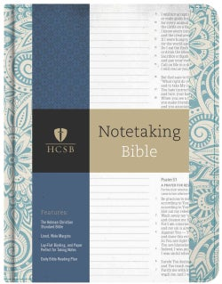Holy Bible: Hcsb Notetaking Bible, Blue Floral (Hardcover)