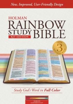Holy Bible: KJV Rainbow Study Bible, Maroon Leathertouch (Paperback)