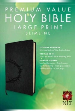 Holy Bible: New Living Translation, Crown, Black, Large Print, Slimline, Premium Value (Paperback)