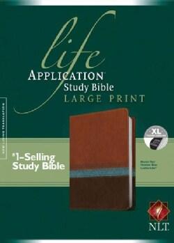 Life Application Study Bible: New Living Translation Brown/Tan Heather Blue Leatherlike (Paperback)