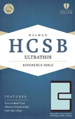 Holy Bible: Holman Christian Standard Bible, Brown/Blue, Leathertouch With Magnetic Flap, Ultrathin Reference Bible (Paperback)