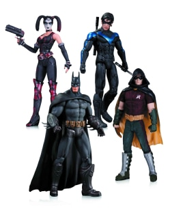 Arkham City Harley Quinn, Batman, Nightwing, and Robin 4 Pack