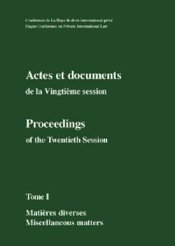 Actes Et Documents De La Vingtieme Session Set / Proceedings of the Twentieth Session Set (Hardcover)
