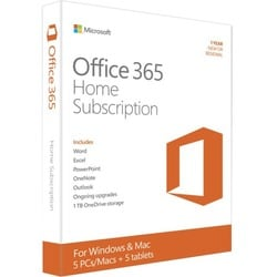 Microsoft Office 365 Home Subscription + Exclusive Upgrades and New Features - 5 PC/Mac, 5 Tablet, 5 User, 5 TB OneDrive Cloud S