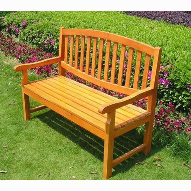 Shop Wood Garden Bench With Curved Back Free Shipping