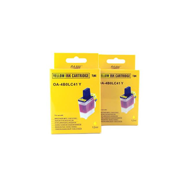Yellow Ink Cartridge for Brother LC41Y (Pack of 2)