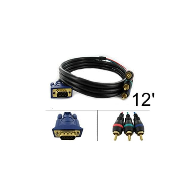 shop vga to three-rca male-male 12-foot video cable