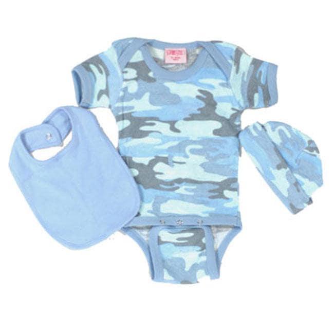 Sophias Style Newborn Blue Camo Onesie Set Free Shipping