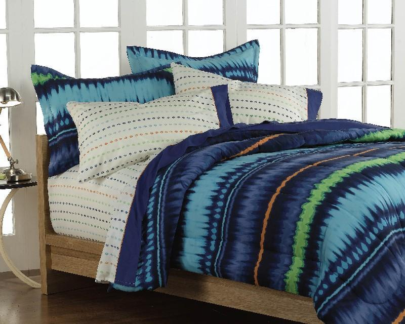 Tie Dye Blue 5 Piece Twin Size Bed In A Bag Free