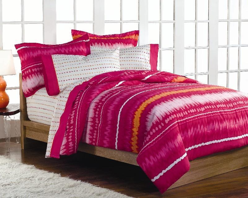 Pink Tie Dye Queen Size Bedding Ensemble Free Shipping