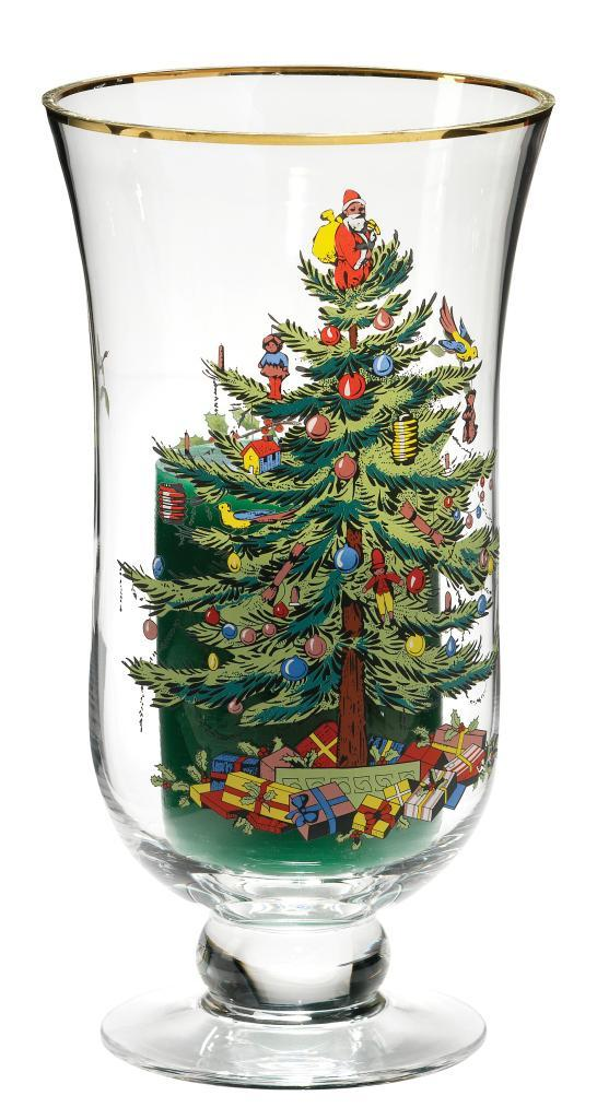 Spode Christmas Tree Glass Hurricane and Candle - Free ...
