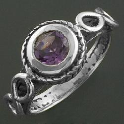 Braided Sterling Silver Amethyst Ring (India) - Thumbnail 2