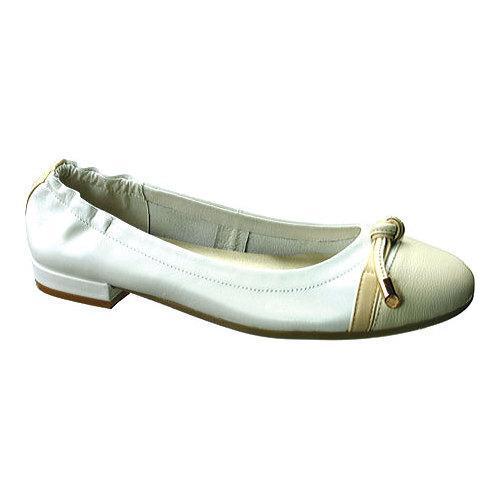 Women's David Tate Amelia Ballerina Flat White Nappa Kids...