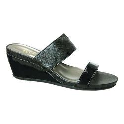 Women's David Tate Charlotte Wedge Sandal Black Vintage Goat/Patent Leather