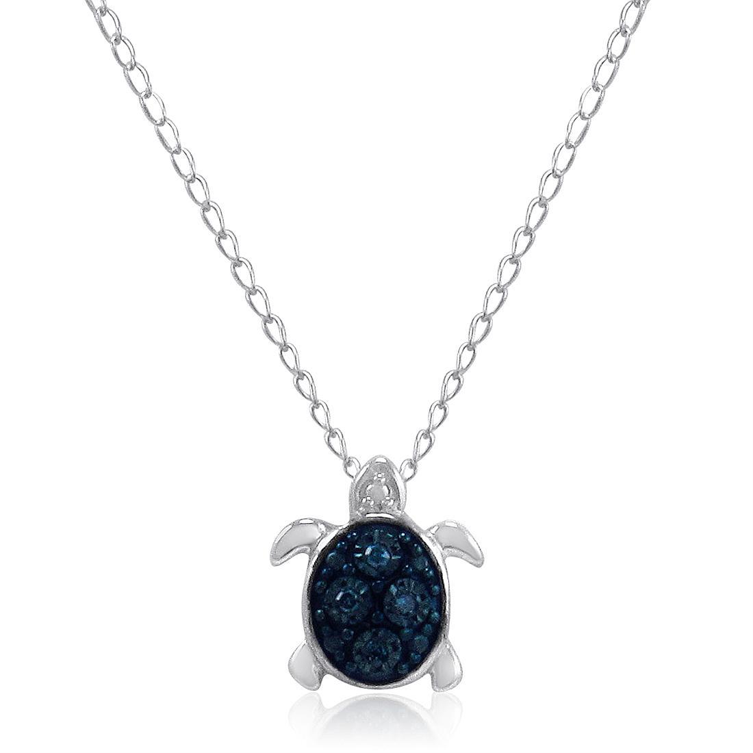 Amanda Rose Teeny-Tiny Blue Diamond Turtle Pendant in Sterling Silver