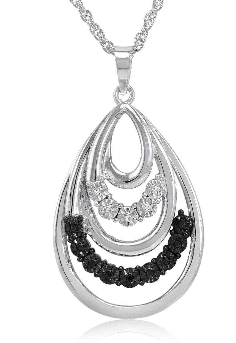 Amanda Rose Black and White Diamond Tear Drop Pendant-Necklace set in Sterling Silver