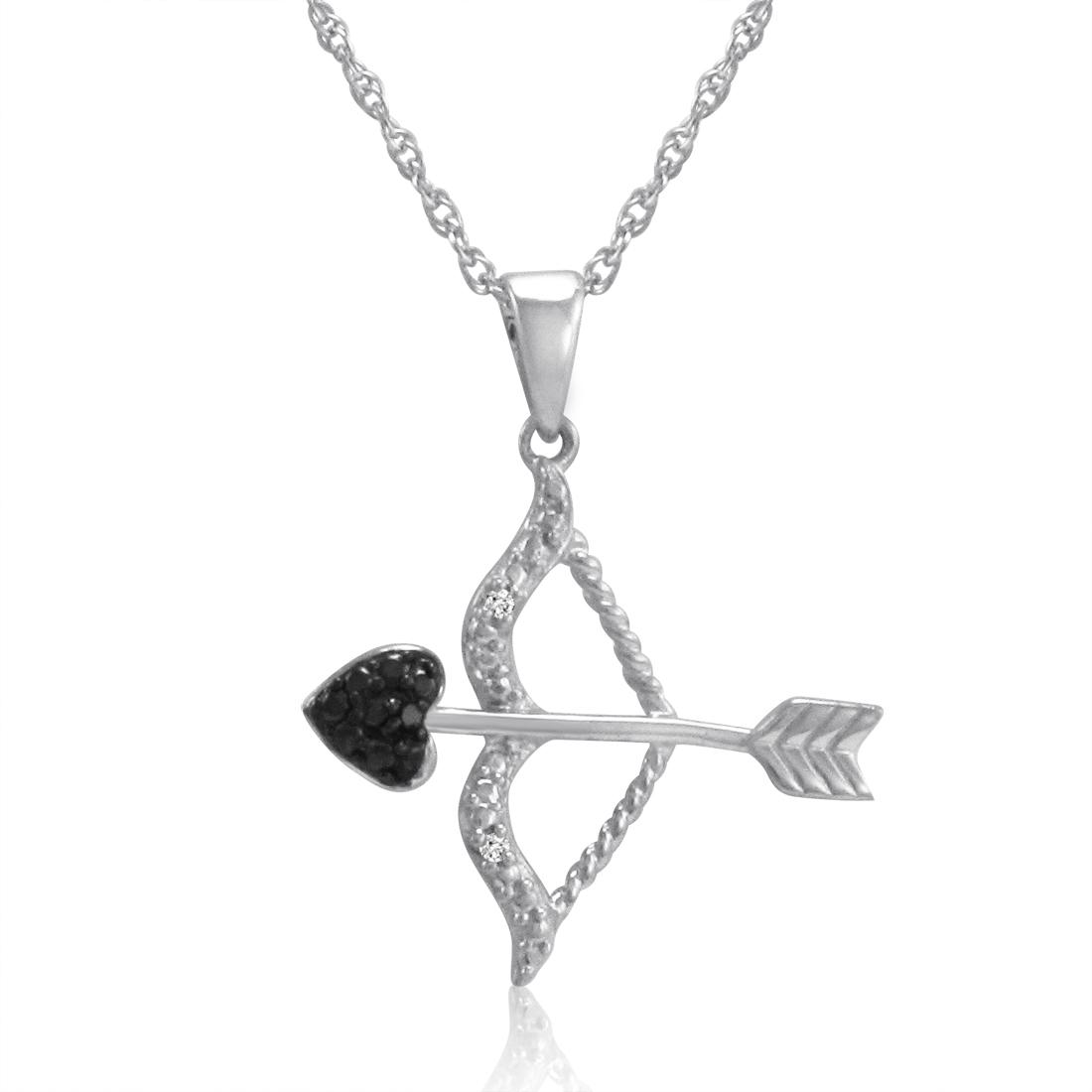Amanda Rose Black and white diamond Bow and Arrow Pendant in Sterling Silver