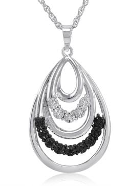 Amanda Rose Black and White Diamond Tear Drop Pendant-Necklace set in Sterling Silver - Thumbnail 0