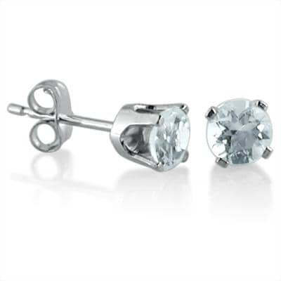 Amanda Rose 4mm Aquamarine Stud Earrings set in 14K White Gold