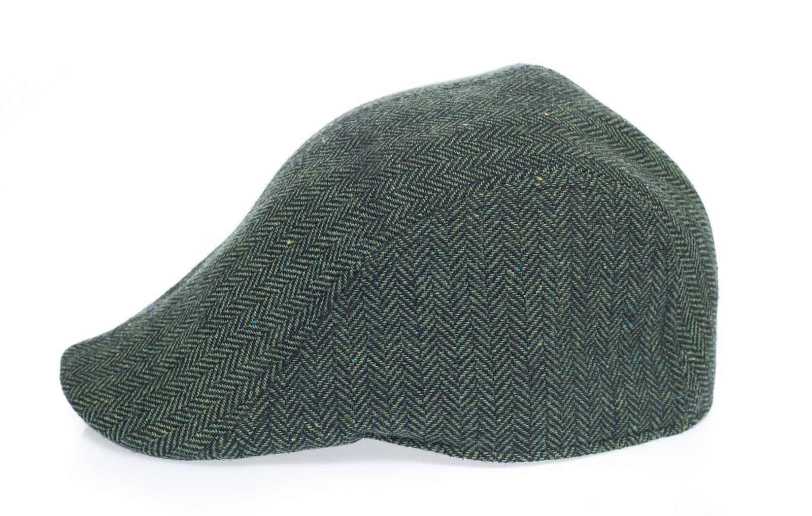 Newsboy Wool Blend Cap Paperboy Men Boy Gatsby Hipster Ivy Hat, Herringbone Green Grey