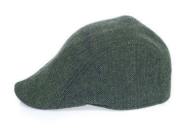 Newsboy Wool Blend Cap Paperboy Men Boy Gatsby Hipster Ivy Hat, Herringbone Green Grey