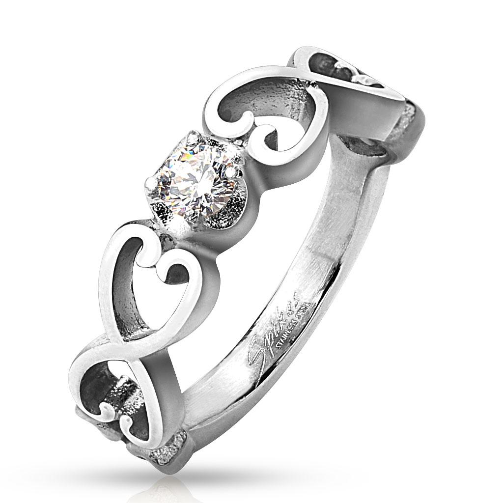 Six Vintage Hearts with Clear CZ Stainless Steel Ring