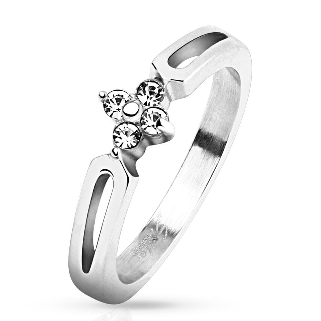 4 CZs Center Stainless Steel Ring