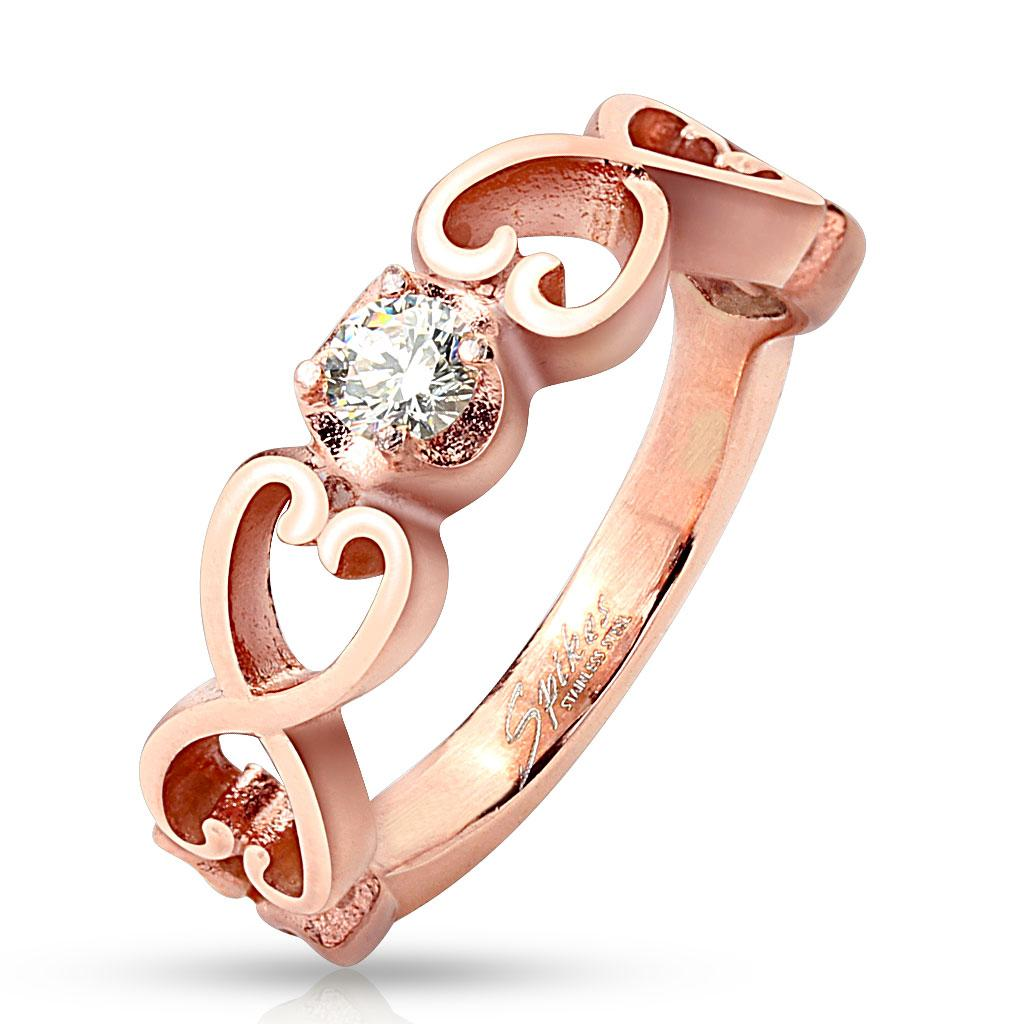 Six Vintage Hearts with Clear CZ Rose Gold IP Stainless Steel Ring
