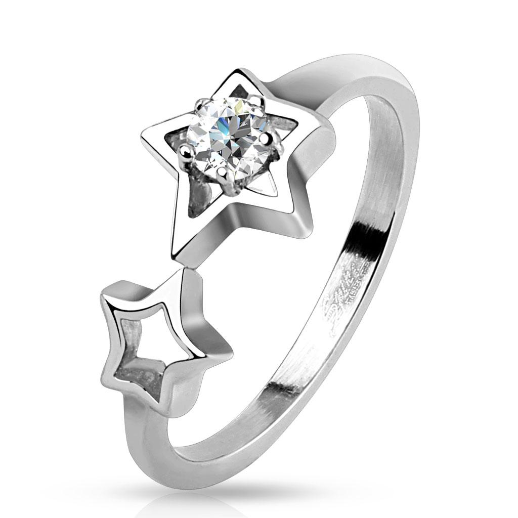 Two Hollow Stars with Clear CZ Stainless Steel Ring