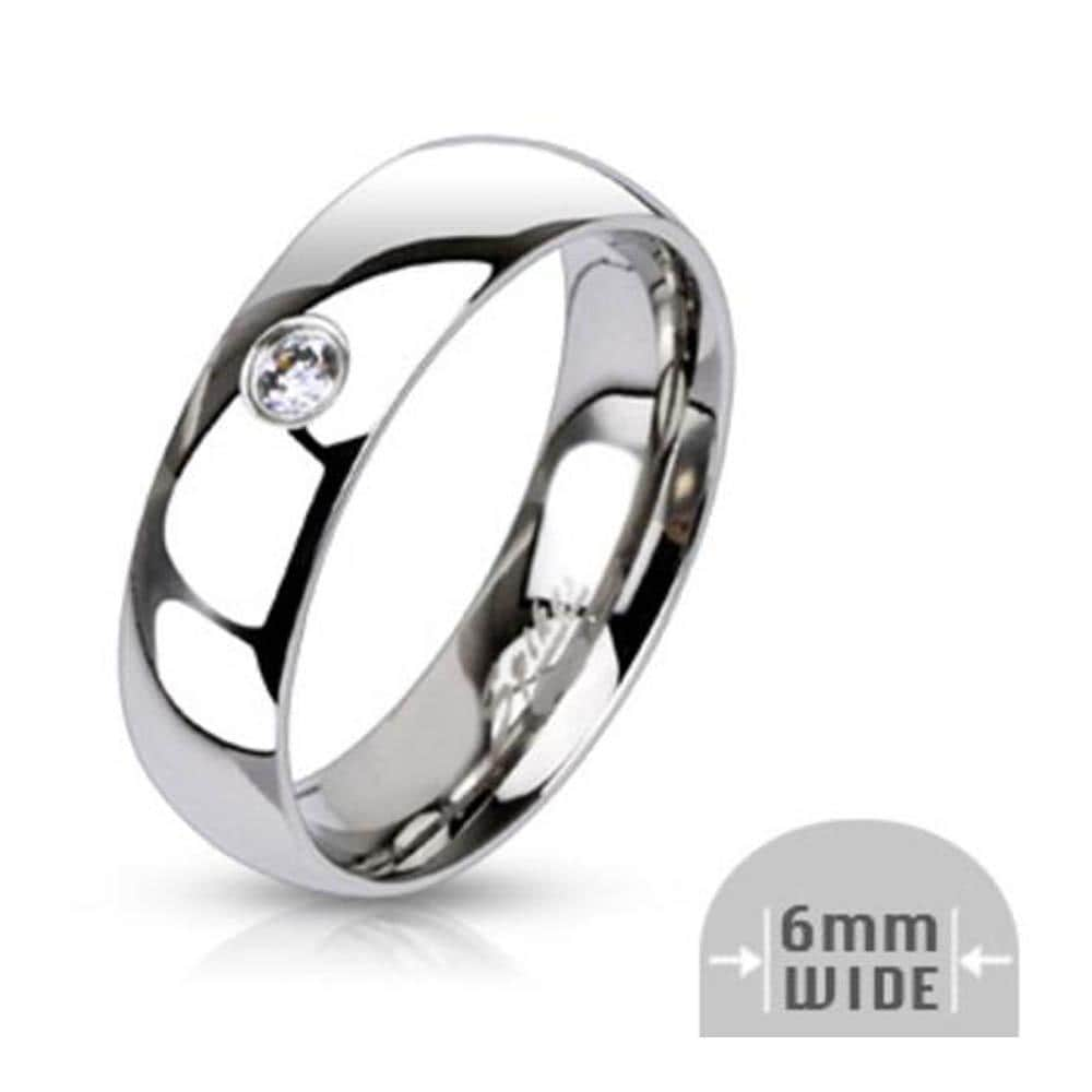 Stainless Steel Single CZ 6mm Wide Classic Band Ring
