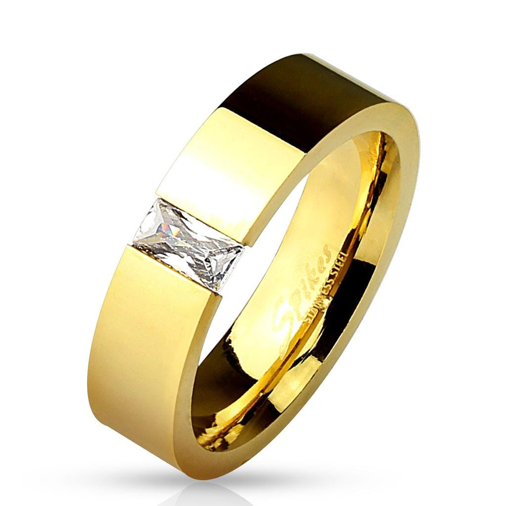 Rectangular CZ Tension Set Gold IP Over 316L Stainless Steel Ring