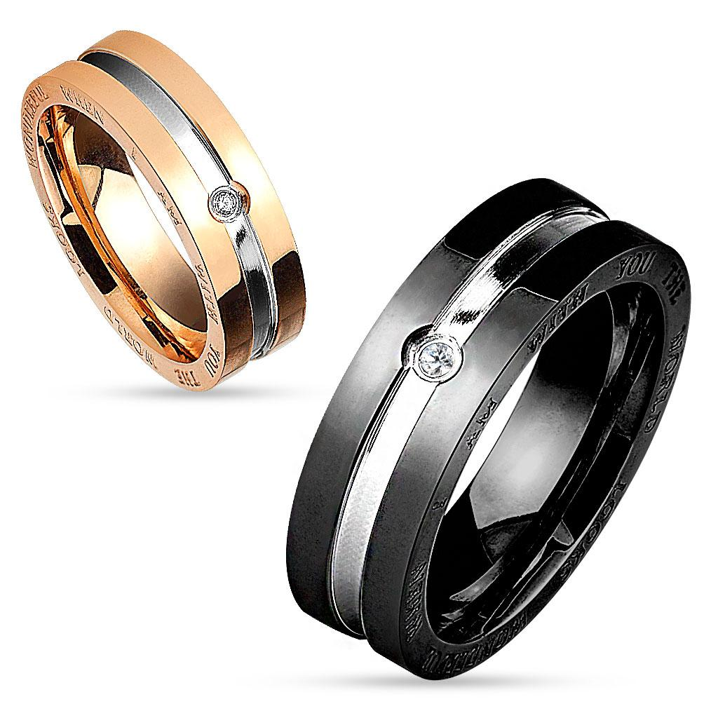 Two Tone Center Line with Clear CZ and Engraved Side Stainless Steel Couple Ring