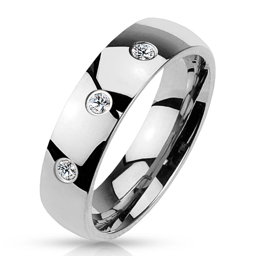 3 CZ Set Classic Dome 316L Stainless Steel Ring