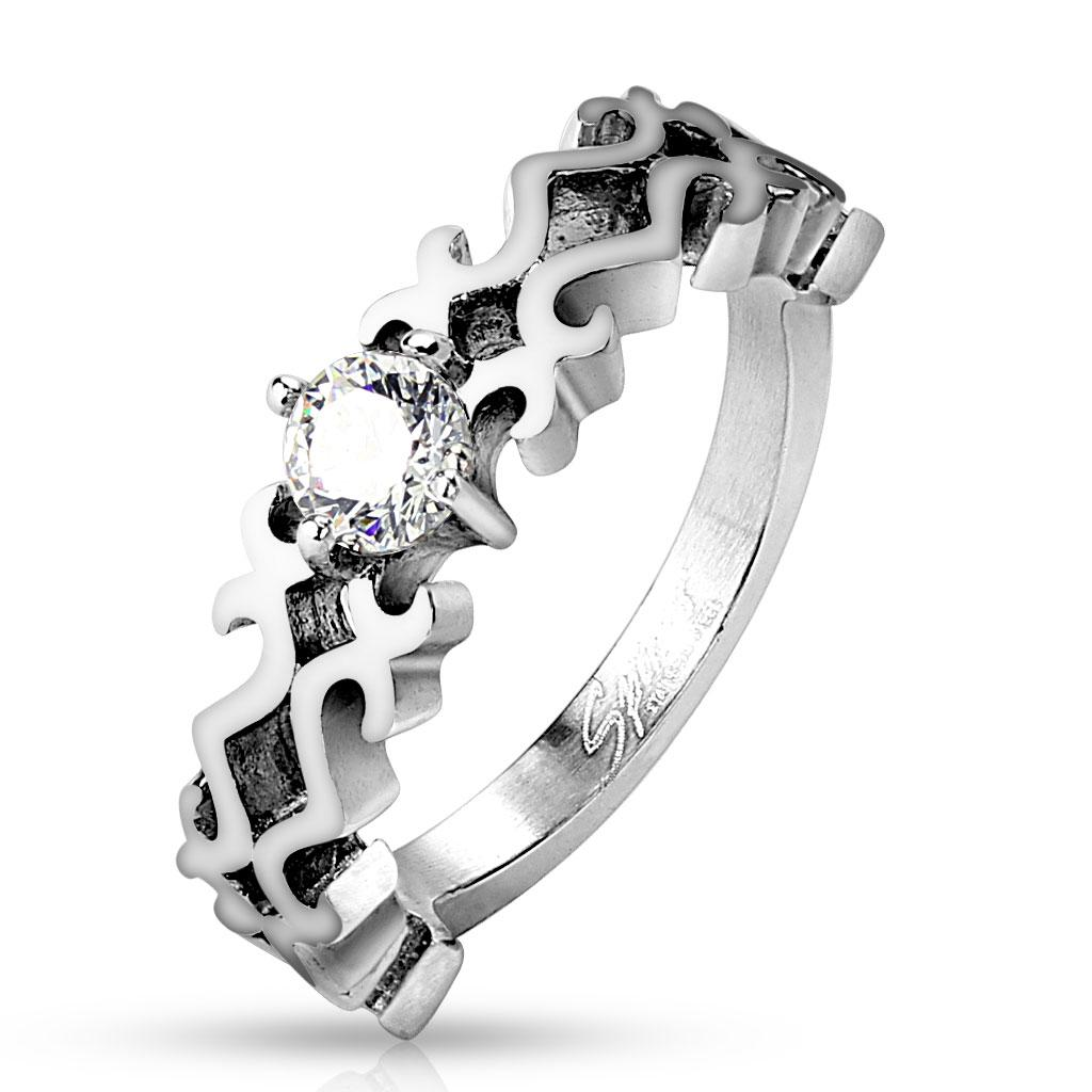 Elaborate Design CZ Center Stainless Steel Ring