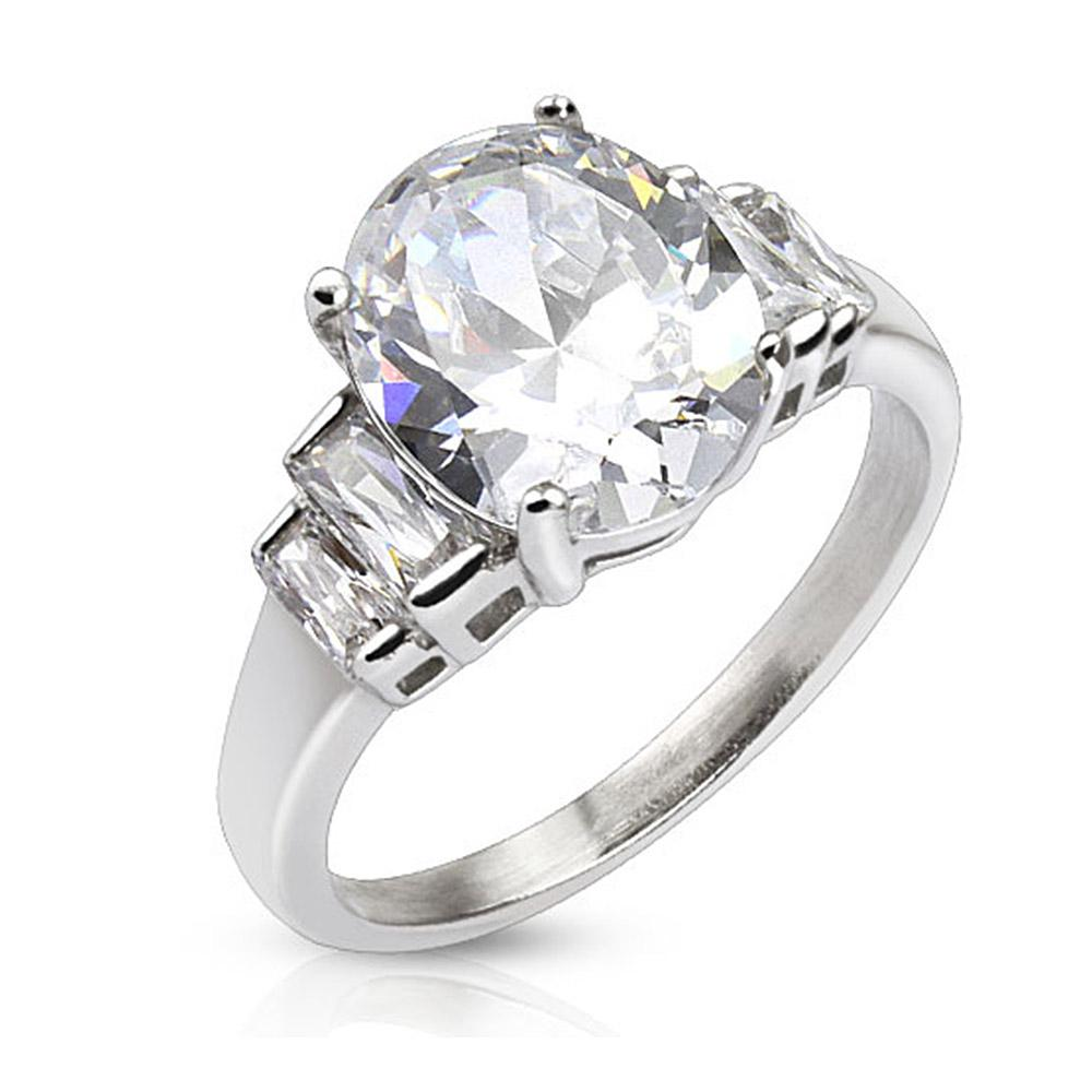 Oval Cut CZ Ring with 4 square CZ wings Stainless Steel