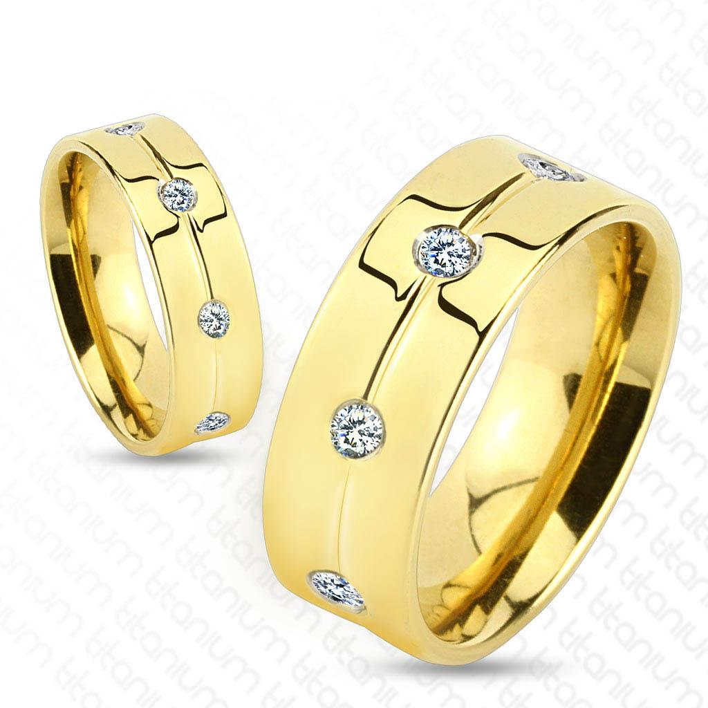 Gold IP with Clear CZ Titanium Ring