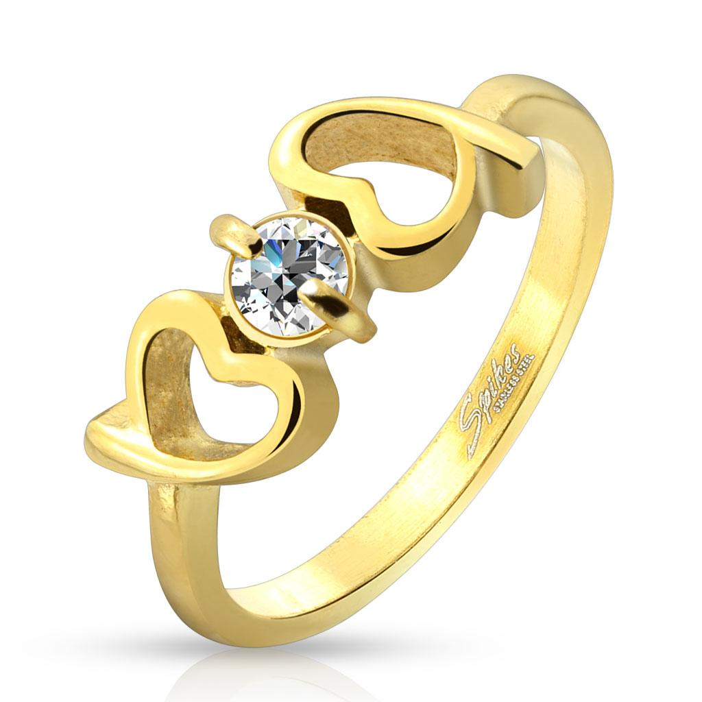 Hearts with Clear CZ Gold IP Stainless Steel Ring